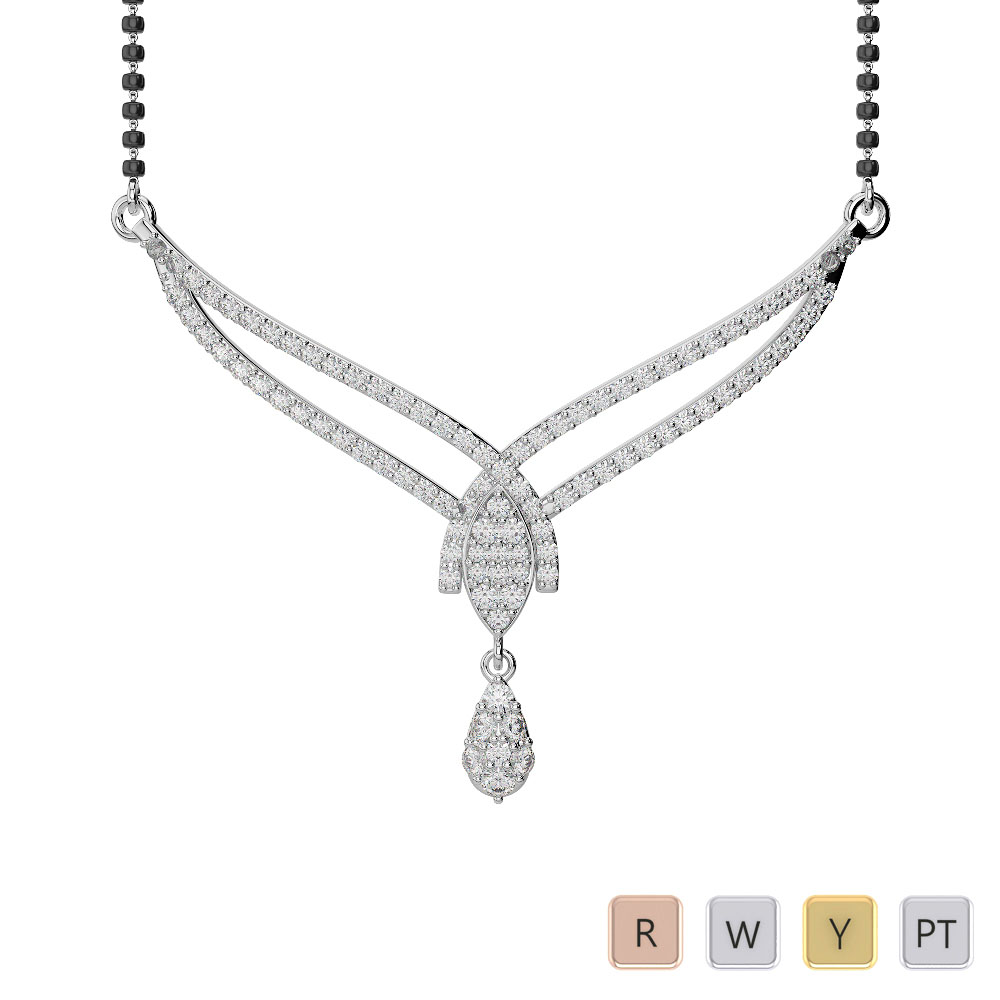 Gold / Platinum Diamond Mangalsutra Necklace IMS-1786
