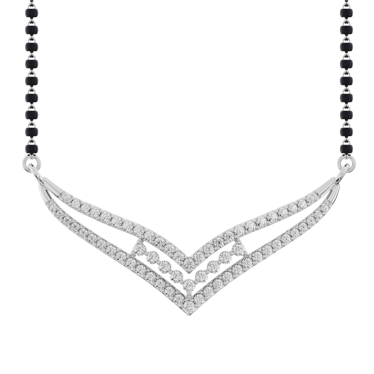Gold / Platinum Round Cut Diamond Mangalsutra TZ0019