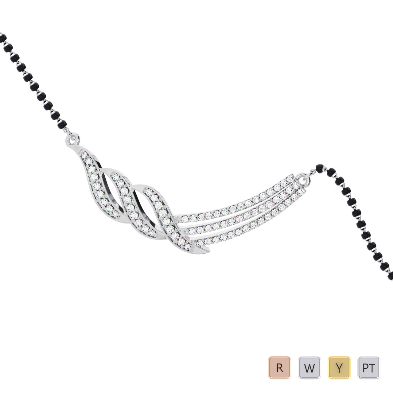 Gold / Platinum Round Cut Diamond Mangalsutra TZ0341