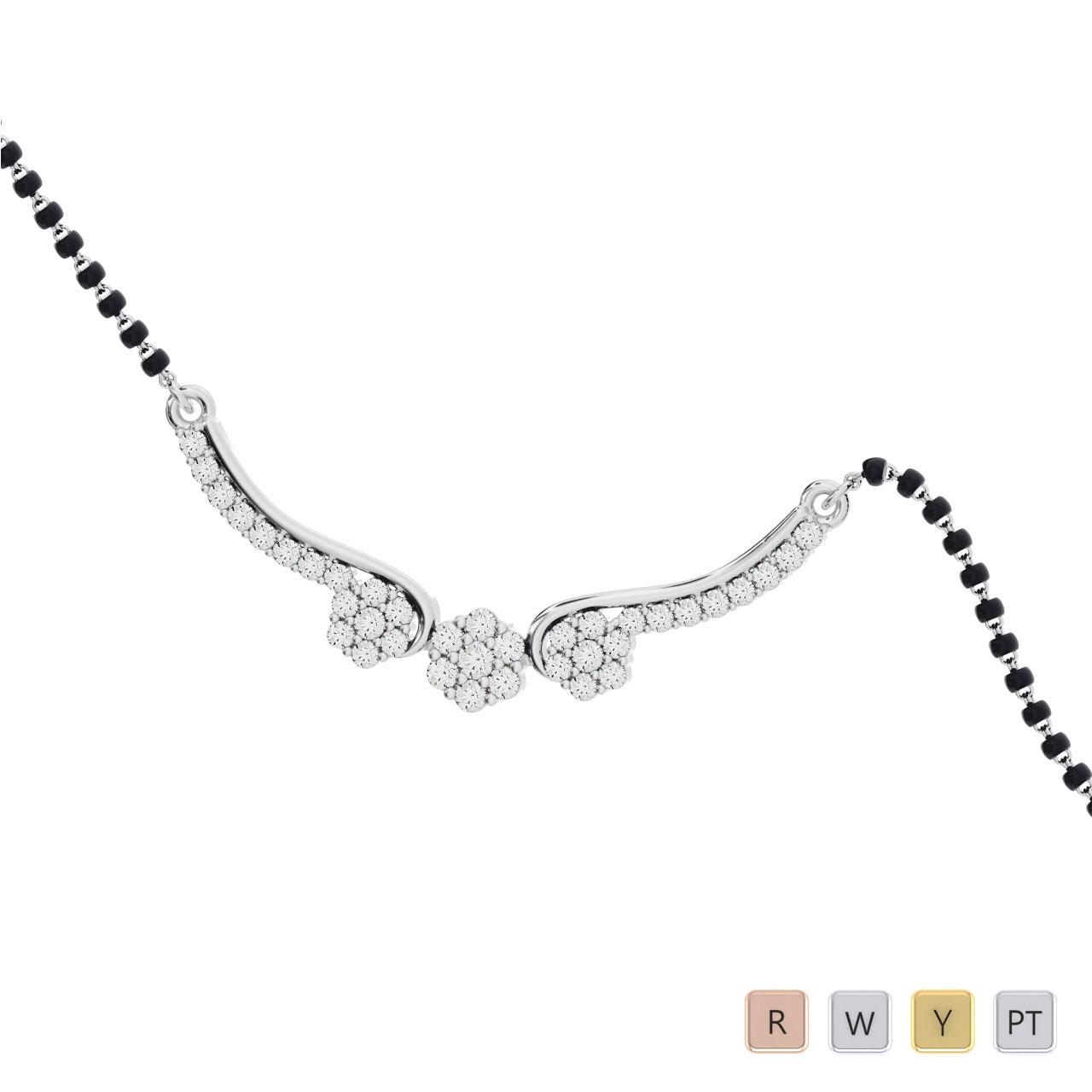 Gold / Platinum Round Cut Diamond Mangalsutra TZ0353