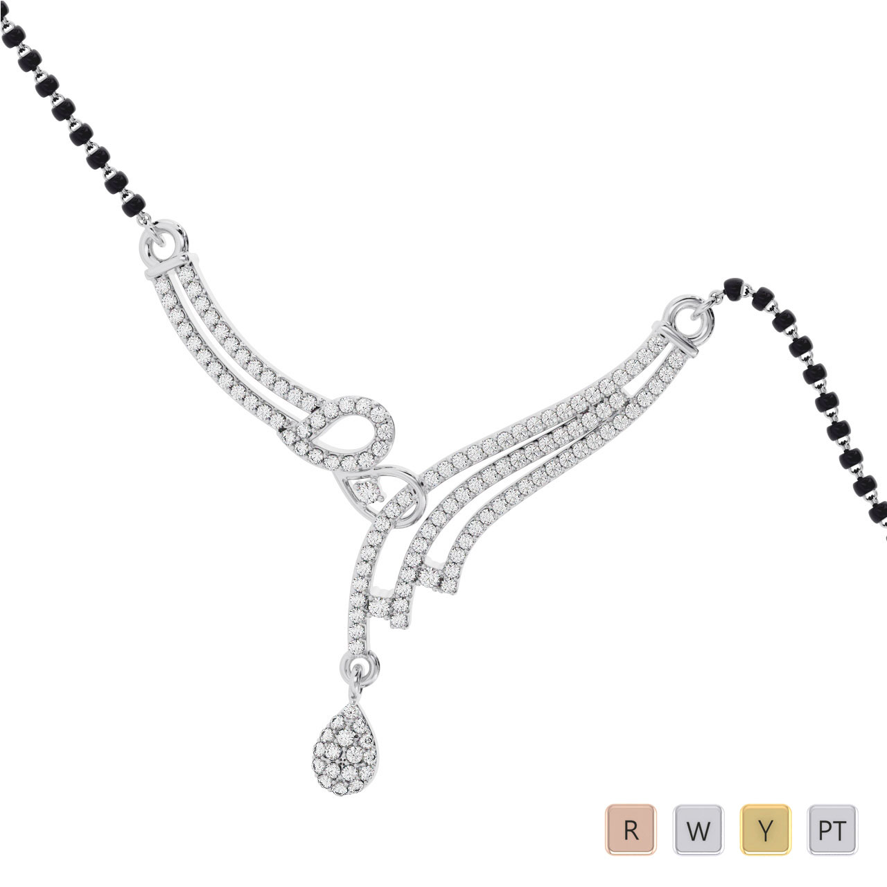 Gold / Platinum Round Cut Diamond Mangalsutra TZ0363