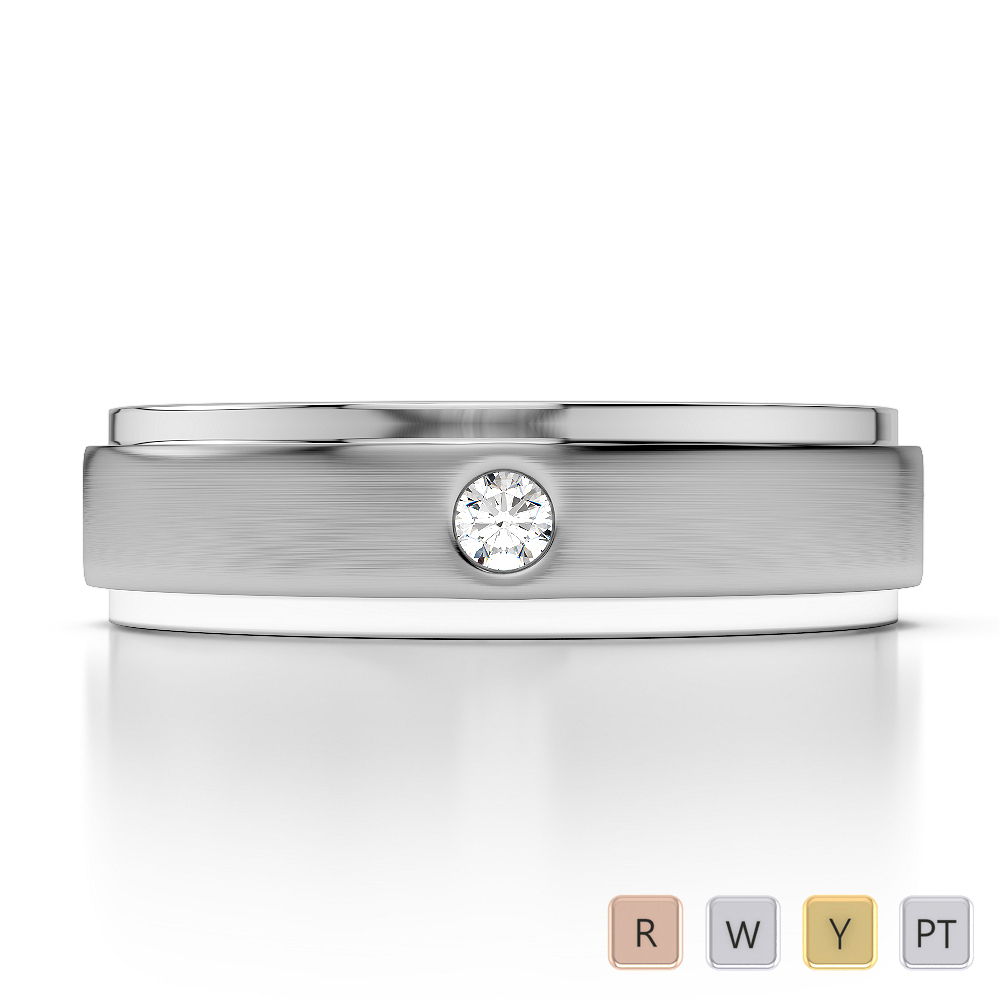 Gold / Platinum Diamond Mens Wedding Ring 5 mm AGDR-1266