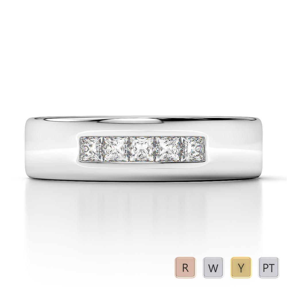 Gold / Platinum Diamond Mens Wedding Ring 5 mm AGDR-1279