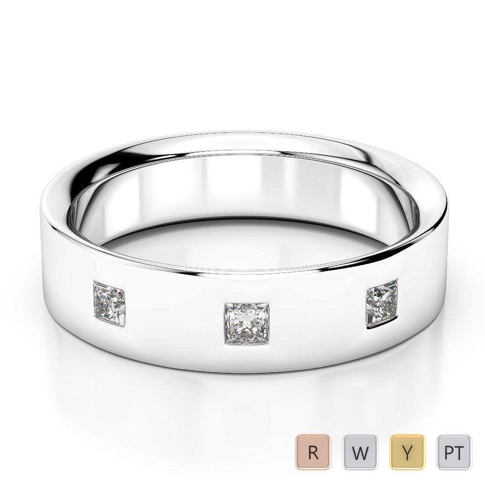 Gold / Platinum Diamond Mens Wedding Ring 5 mm AGDR-1282