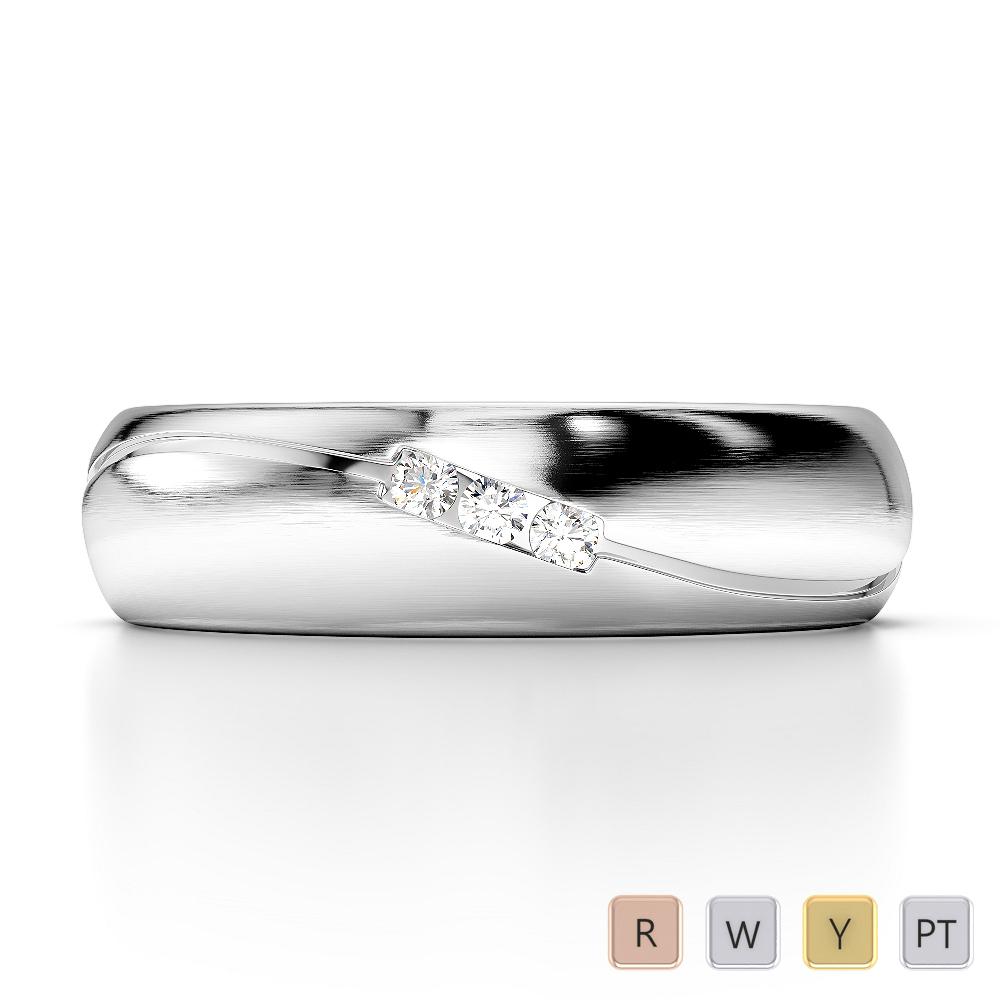 Gold / Platinum Diamond Mens Wedding Ring 5 mm AGDR-1285