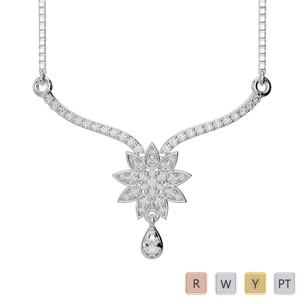 Gold / Platinum Diamond Necklace with Chain DNC-1727