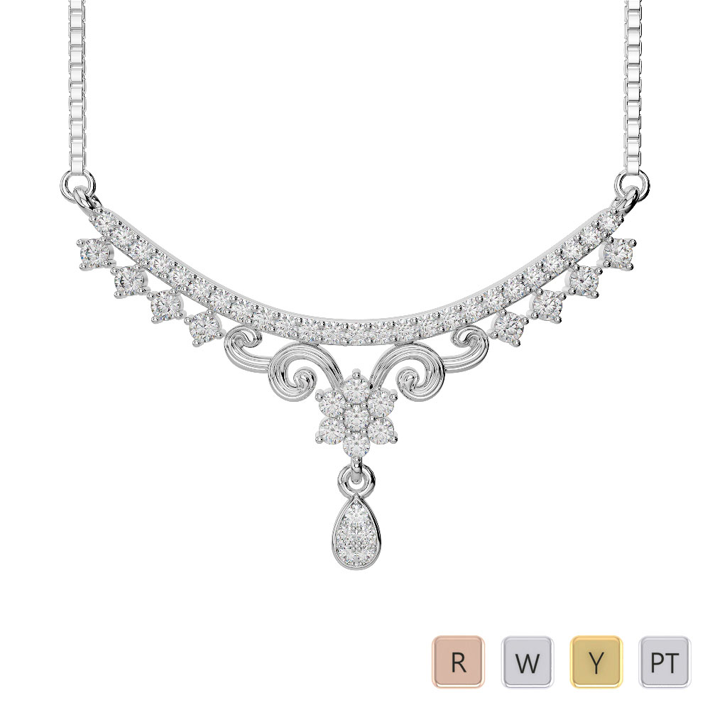 Gold / Platinum Diamond Necklace with Chain DNC-1729