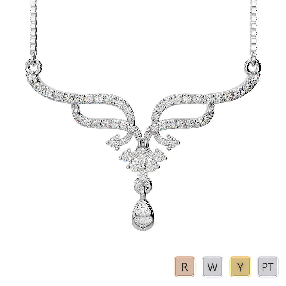Gold / Platinum Diamond Necklace with Chain DNC-1731