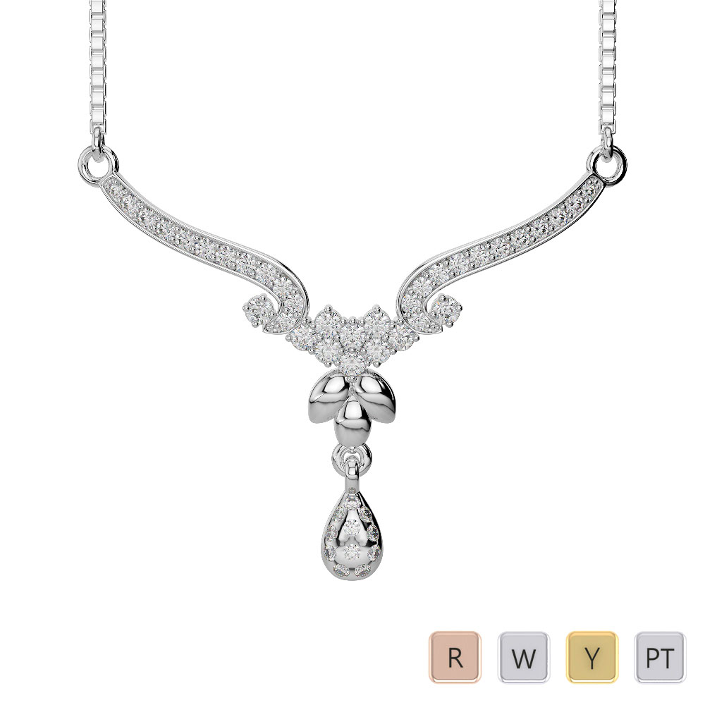 Gold / Platinum Diamond Necklace with Chain DNC-1733