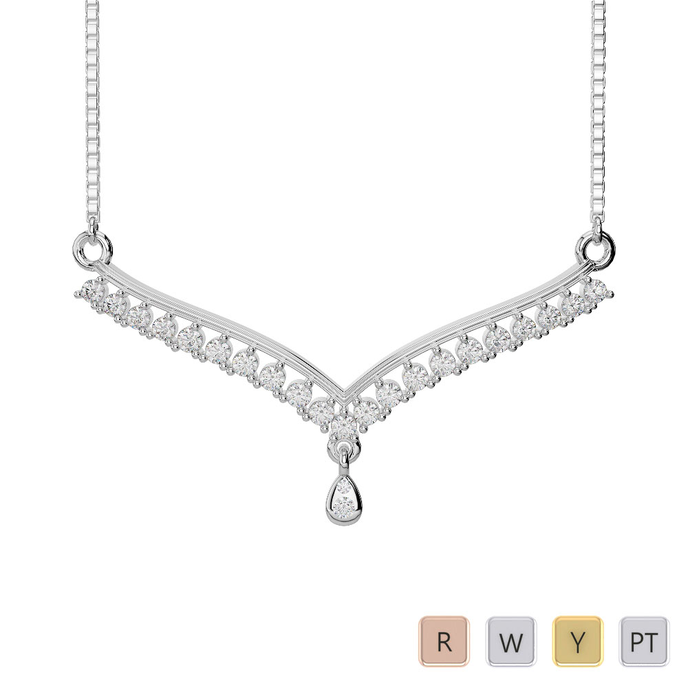Gold / Platinum Diamond Necklace with Chain DNC-1735
