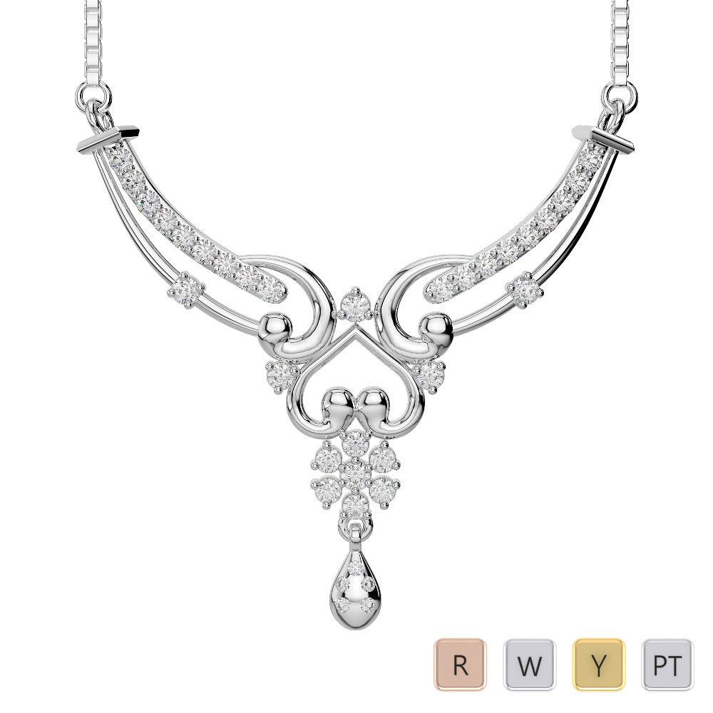 Gold / Platinum Diamond Necklace with Chain DNC-2181