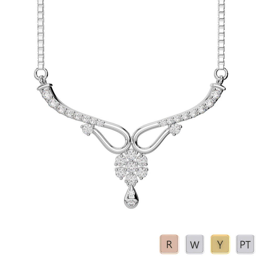 Gold / Platinum Diamond Necklace with Chain DNC-2185