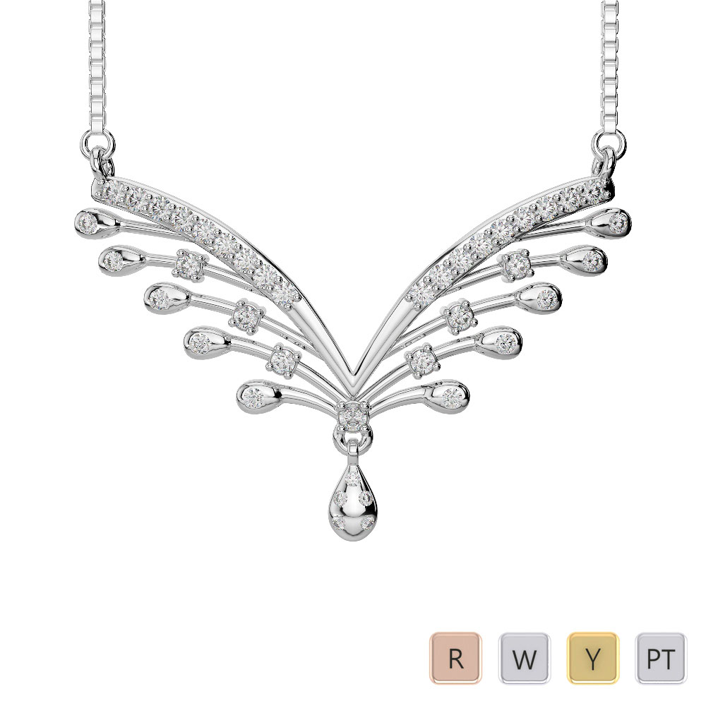 Gold / Platinum Diamond Necklace with Chain DNC-2193
