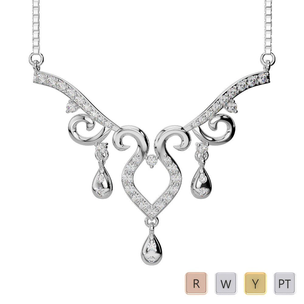 Gold / Platinum Diamond Necklace with Chain DNC-2195