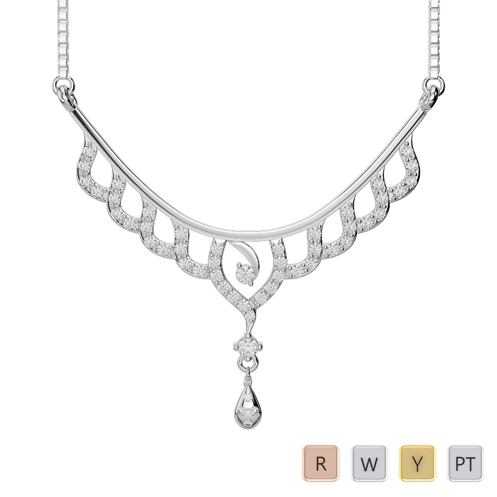 Gold / Platinum Diamond Necklace with Chain DNC-2215