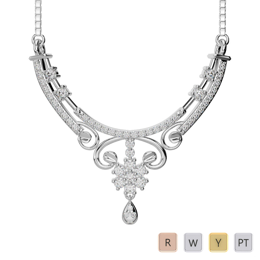 Gold / Platinum Diamond Necklace with Chain DNC-2219