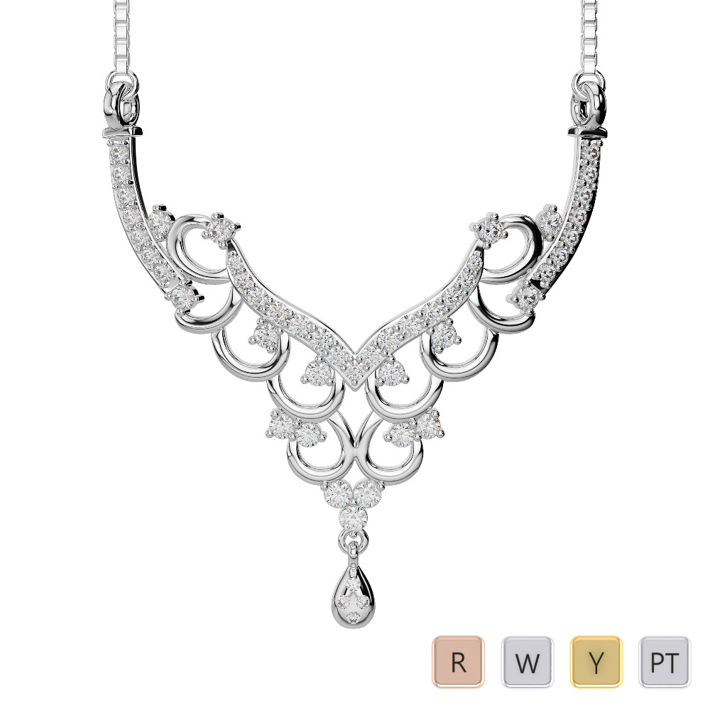 Gold / Platinum Diamond Necklace with Chain DNC-2223
