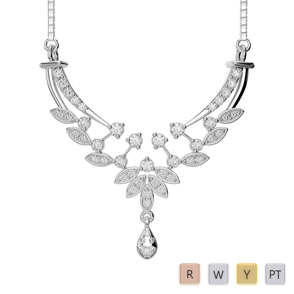 Gold / Platinum Diamond Necklace with Chain DNC-2225