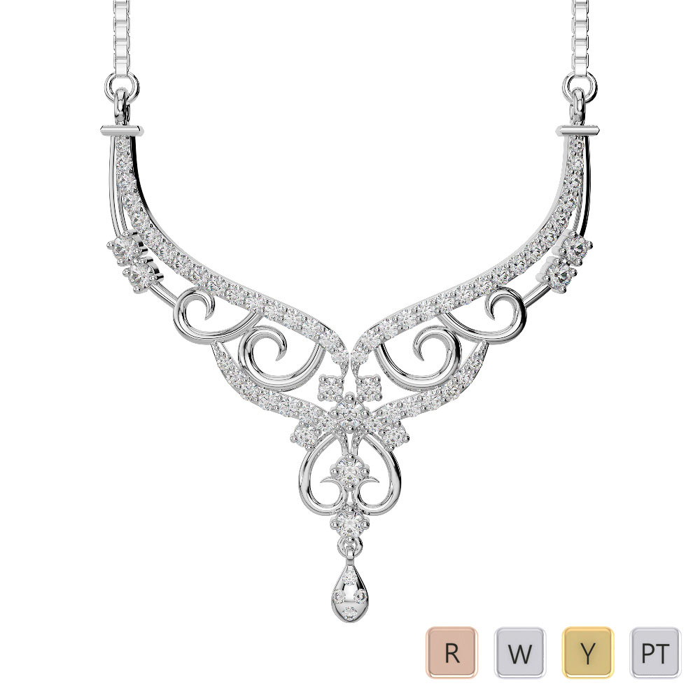 Gold / Platinum Diamond Necklace with Chain DNC-2231