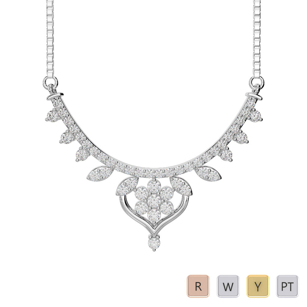 Gold / Platinum Diamond Necklace with Chain DNC-2235