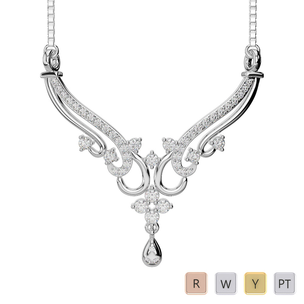 Gold / Platinum Diamond Necklace with Chain DNC-2237