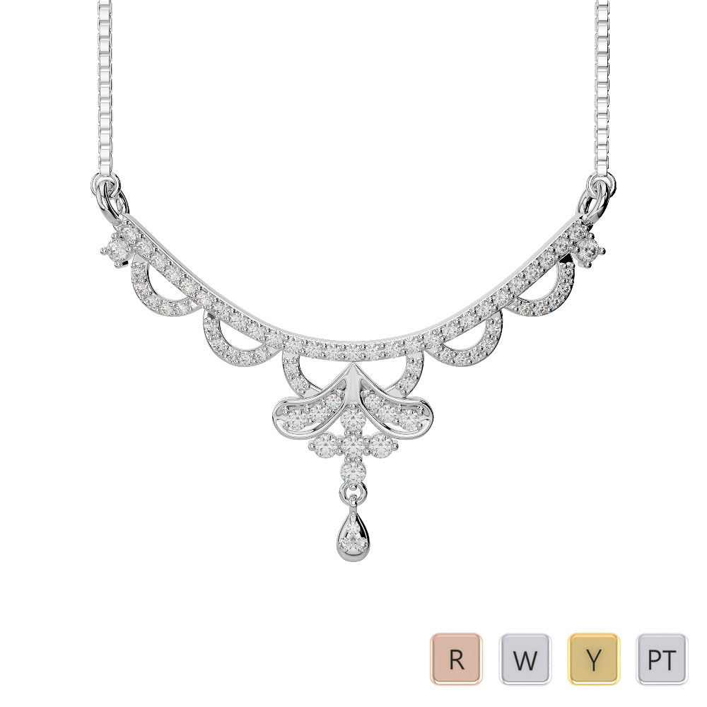 Gold / Platinum Diamond Necklace with Chain DNC-2241