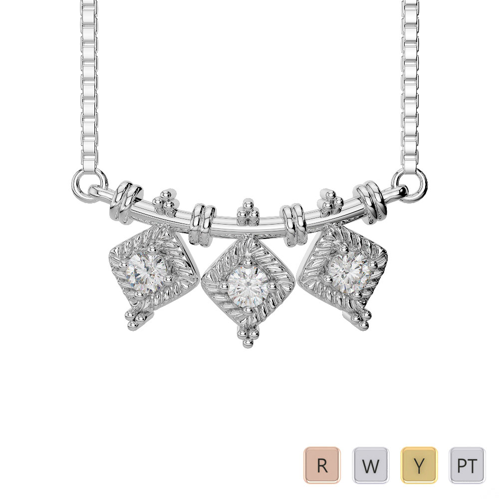 Gold / Platinum Diamond Necklace with Chain DTN-27