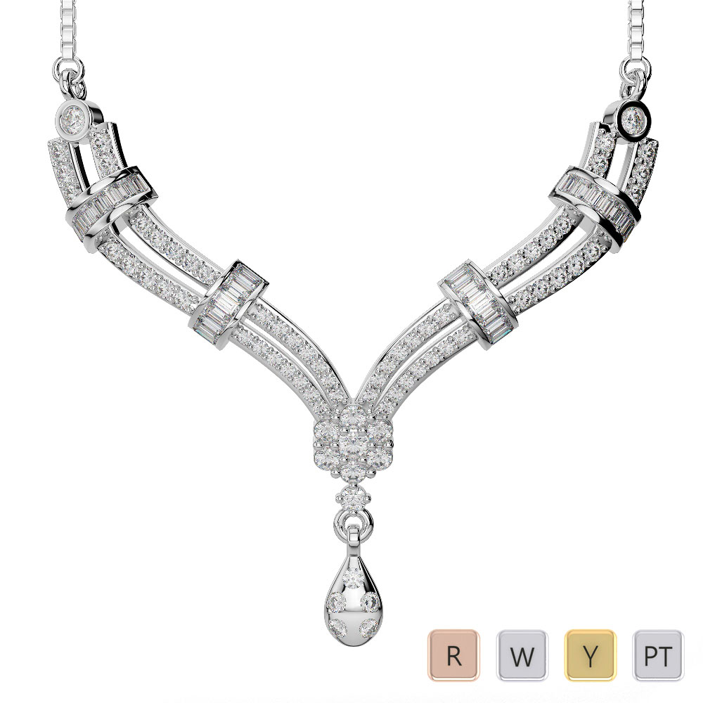 Gold / Platinum Diamond Necklace with Chain DTN-29