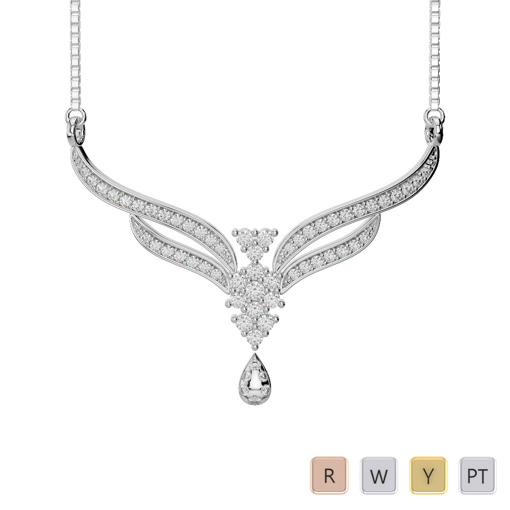 Gold / Platinum Diamond Necklace with Chain DTN-31
