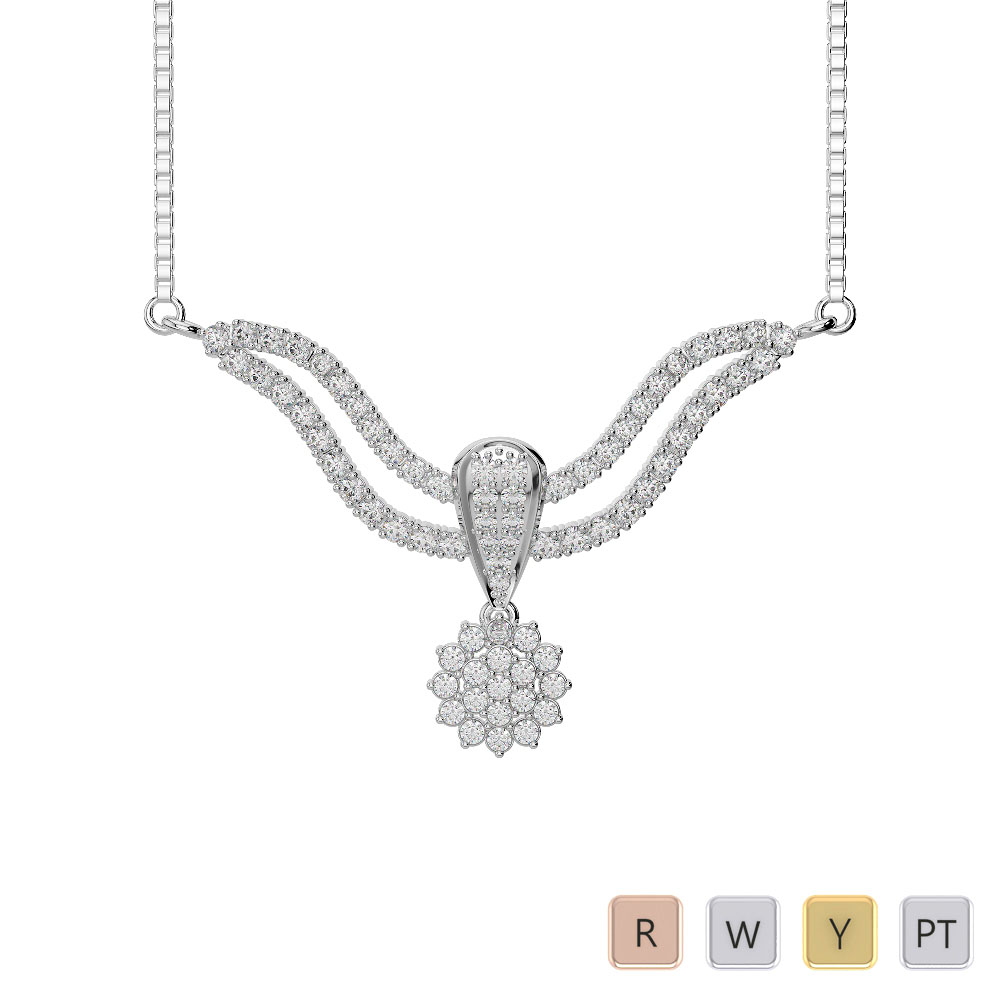 Gold / Platinum Diamond Necklace with Chain DTN-32