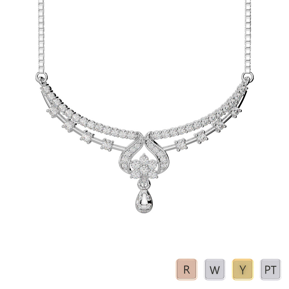 Gold / Platinum Diamond Necklace with Chain DTN-34