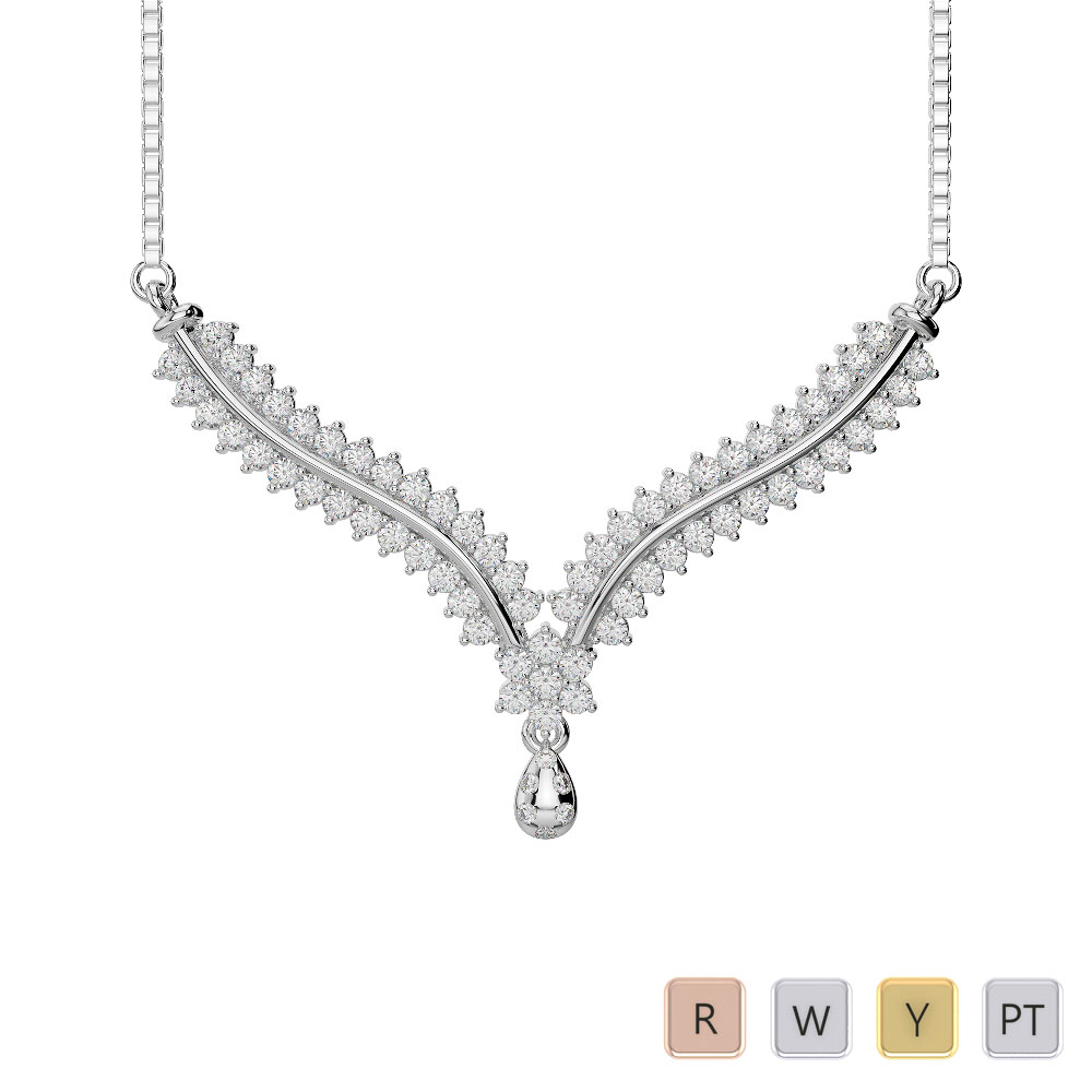 Gold / Platinum Diamond Necklace with Chain DTN-36