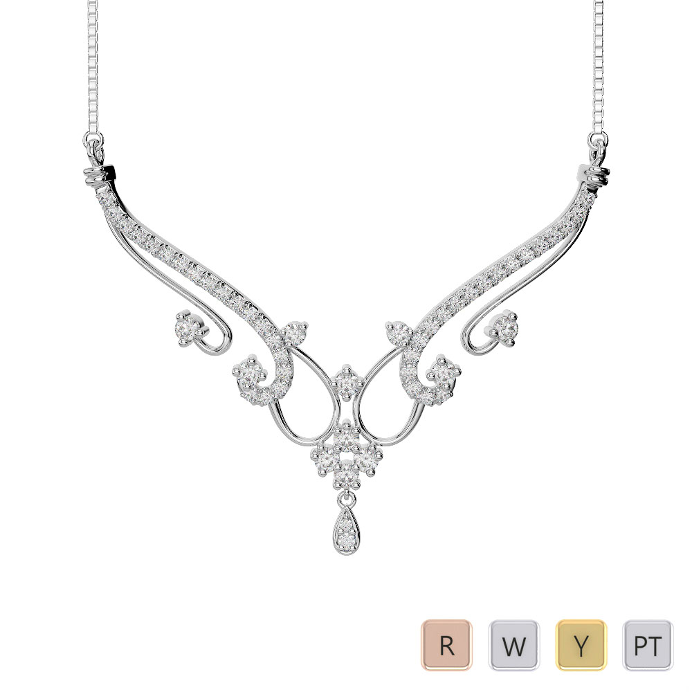 Gold / Platinum Diamond Necklace with Chain IMS-1638