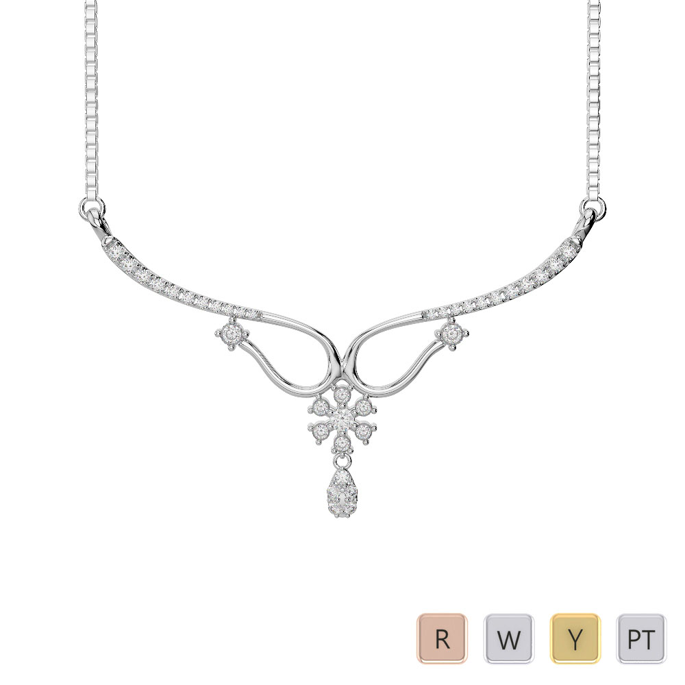 Gold / Platinum Diamond Necklace with Chain IMS-1639