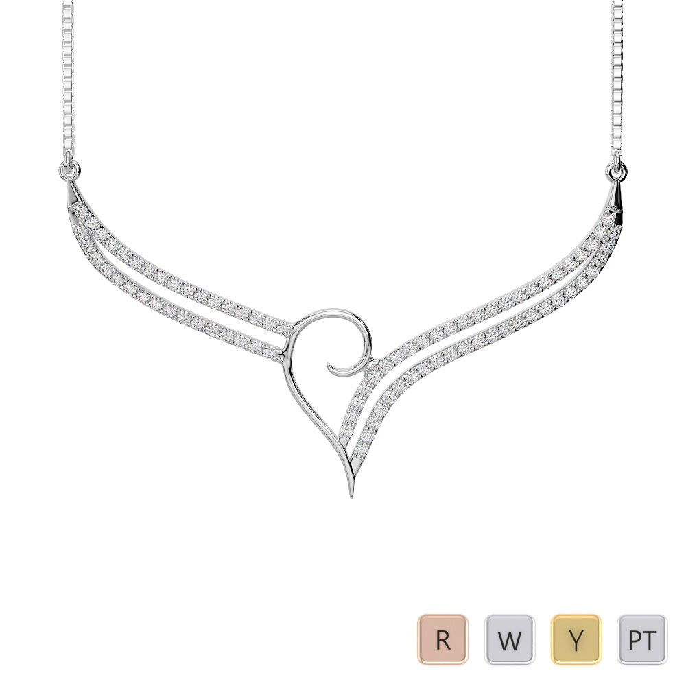 Gold / Platinum Diamond Necklace with Chain IMS-1747
