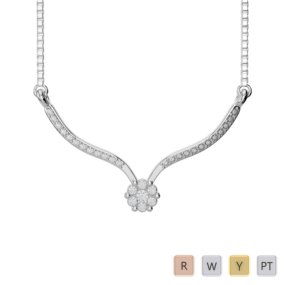 Gold / Platinum Diamond Necklace with Chain IMS-1749