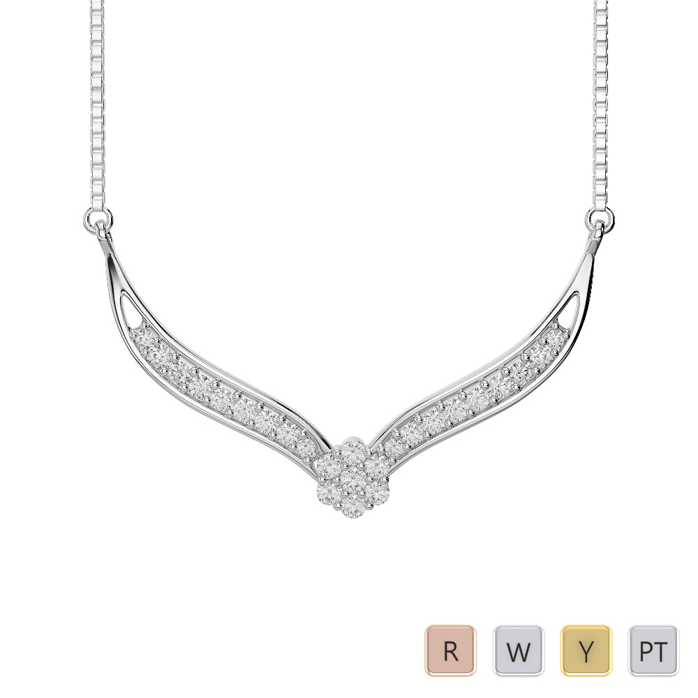 Gold / Platinum Diamond Necklace with Chain IMS-1751