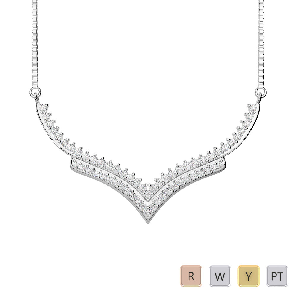 Gold / Platinum Diamond Necklace with Chain IMS-1753