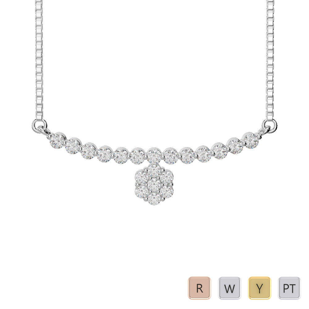Gold / Platinum Diamond Necklace with Chain IMS-1756