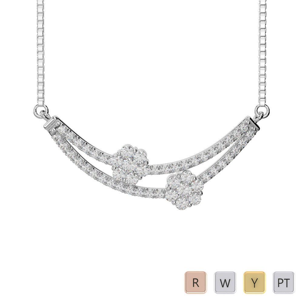 Gold / Platinum Diamond Necklace with Chain IMS-1757