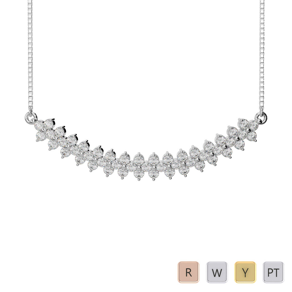 Gold / Platinum Diamond Necklace with Chain IMS-1762
