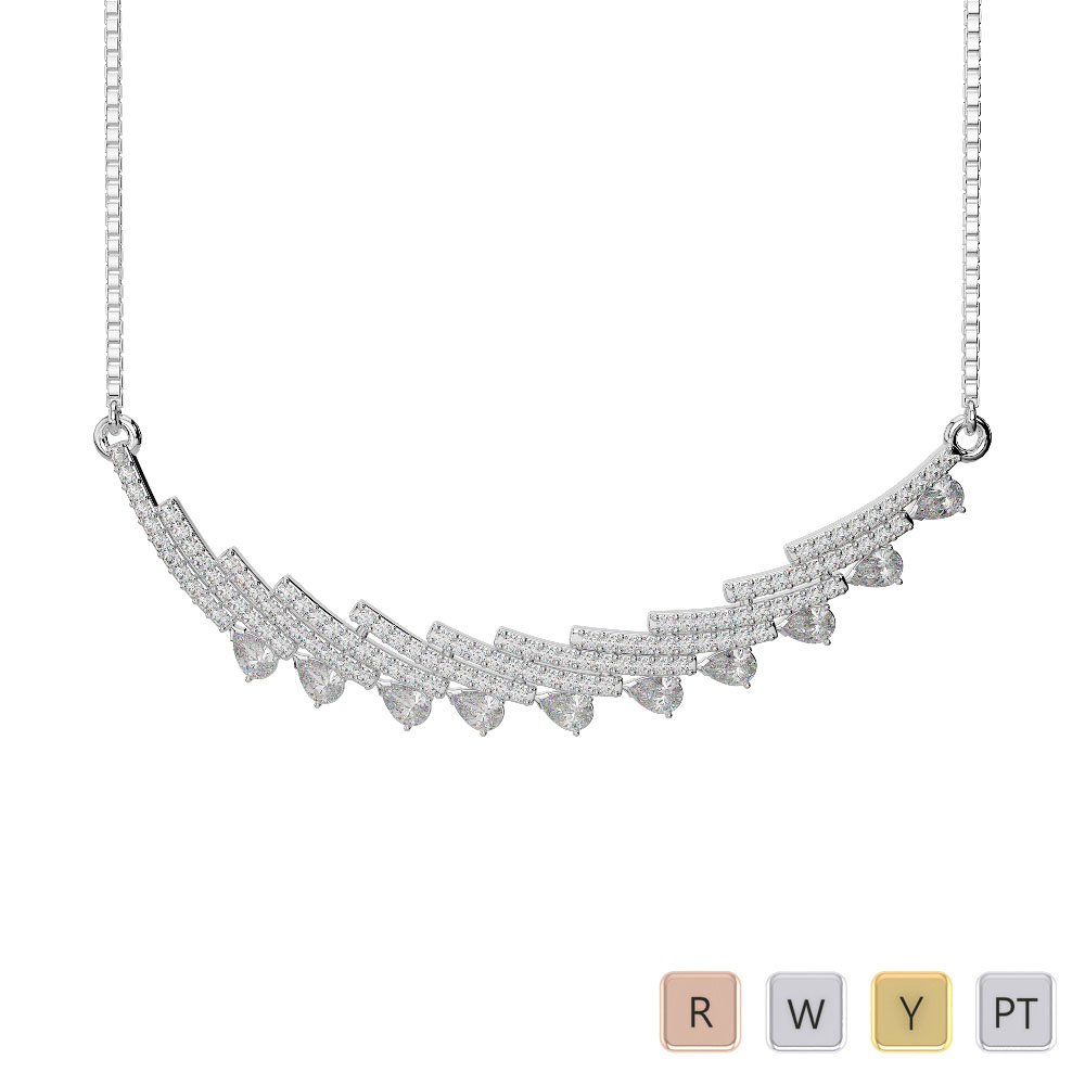 Gold / Platinum Diamond Necklace with Chain IMS-1771