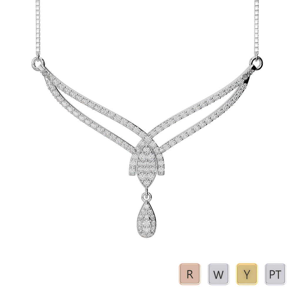 Gold / Platinum Diamond Necklace with Chain IMS-1785