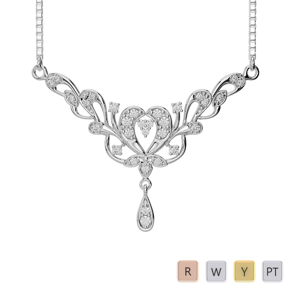 Gold / Platinum Diamond Necklace with Chain IMS-482