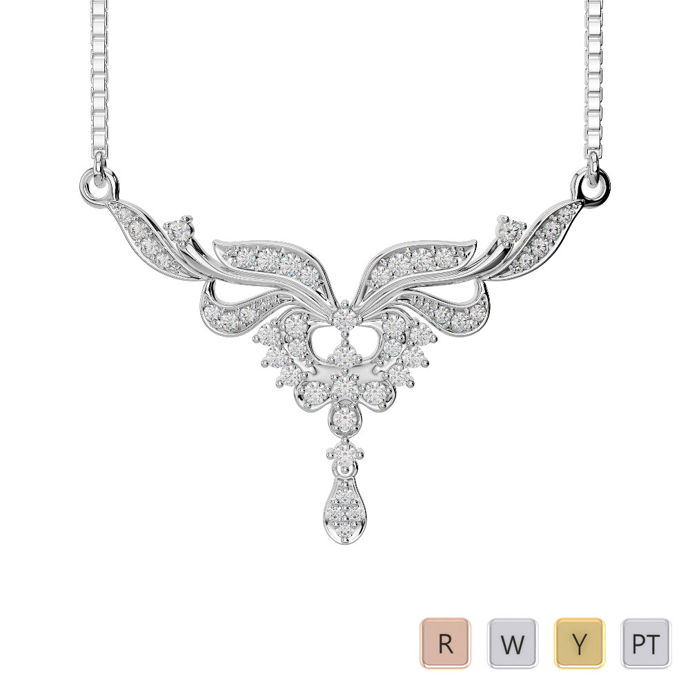 Gold / Platinum Diamond Necklace with Chain IMS-498