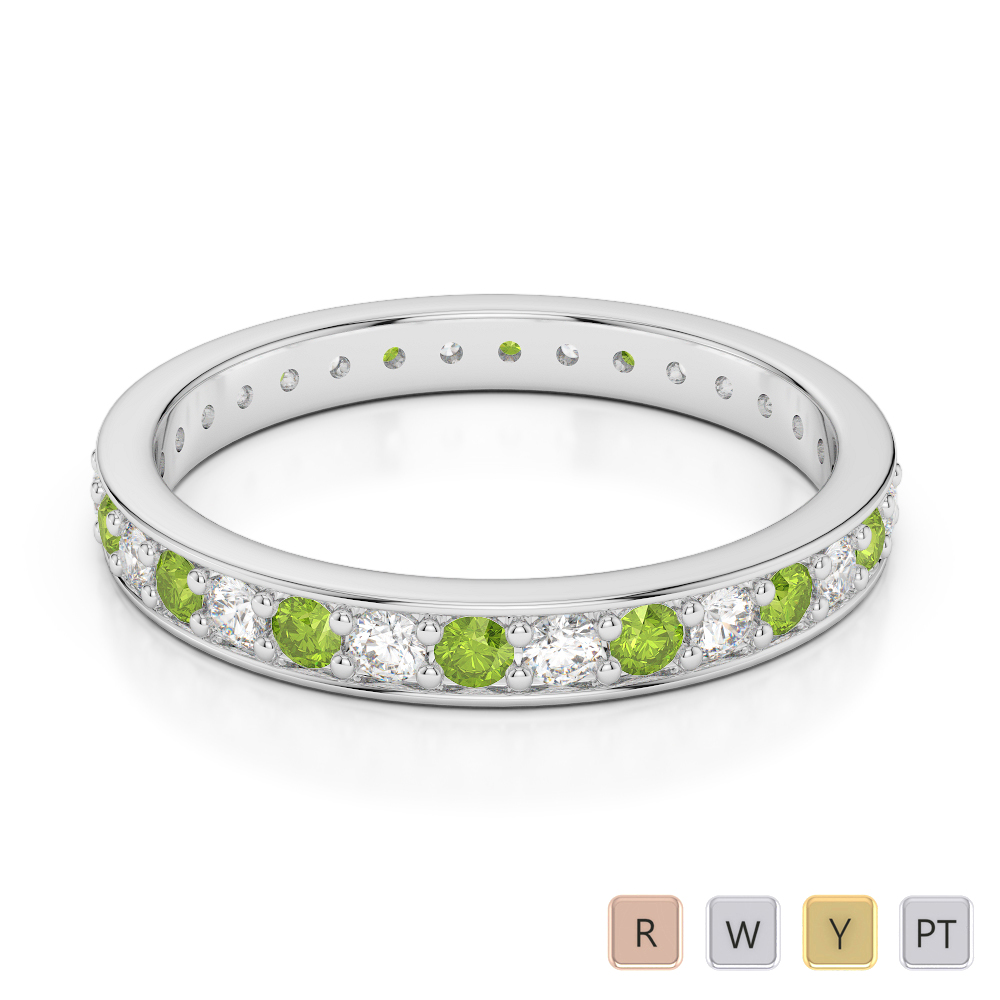 2.5 MM Gold / Platinum Round Cut Peridot and Diamond Full Eternity Ring AGDR-1079
