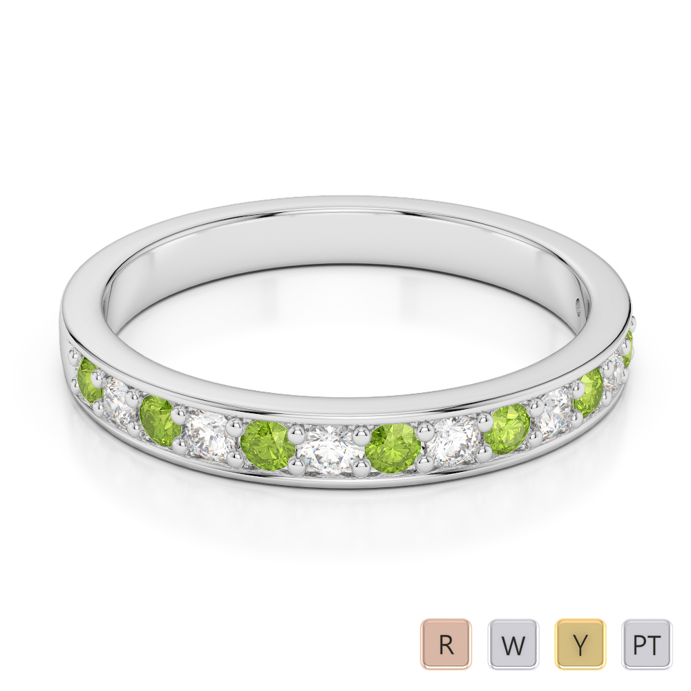 2.5 MM Gold / Platinum Round Cut Peridot and Diamond Half Eternity Ring AGDR-1083