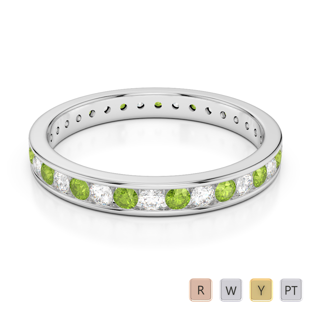 3 MM Gold / Platinum Round Cut Peridot and Diamond Full Eternity Ring AGDR-1087