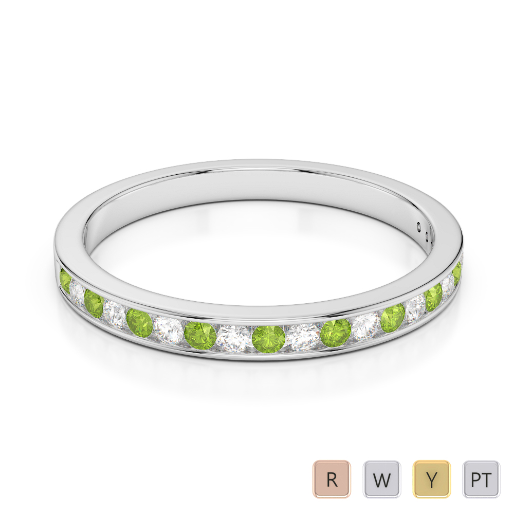 2.5 MM Gold / Platinum Round Cut Peridot and Diamond Half Eternity Ring AGDR-1089