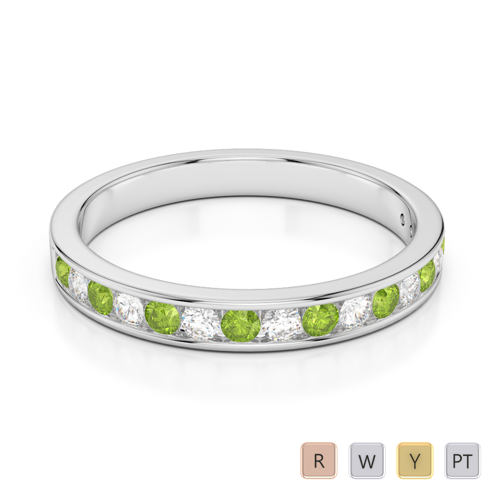 3 MM Gold / Platinum Round Cut Peridot and Diamond Half Eternity Ring AGDR-1090